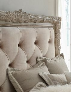 Although the colours are very close shades, this works so well because of the deep buttoned headboard, which gives another dimension of colour