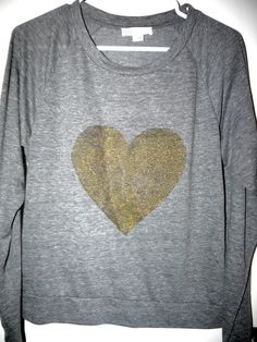 Glitter Heart Sweatshirt DIY. Wearing this today. I used fabric paint