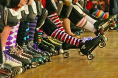This is why I love derby - because my sock addiction is acceptable! (And yes, I do own one of those pairs in the pic. My Socks, Crazy Socks, Knee Socks, Quad, Roller Derby Girls, Derby Skates, Derby Time, Track Roller, Roller Skating