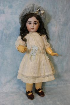 22 inch Tete Jumeau Antique French Bisque Doll Size 10 Original body shoes socks