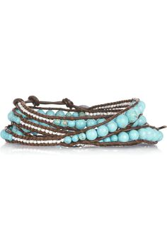 Chan Luu - Gorgeous graduated turquoise and white beaded leather