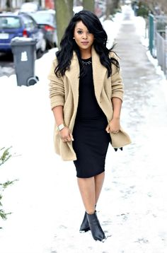 Forever 21 coat and dress / Aldo boots and bag     Black and camel is fast becoming one of my favourite colour combinations. The...