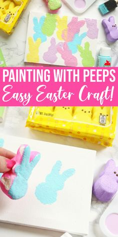 Make my Peeps Easter Art with your child today. A super easy kid-friendly Easter painting craft that uses sugary Bunny Peeps! Easter Arts And Crafts, Easter Activities For Kids, Easter Projects, Bunny Crafts, Easter Crafts For Preschoolers, Toddler Crafts, Preschool Crafts, Diy Crafts, Easter Paintings