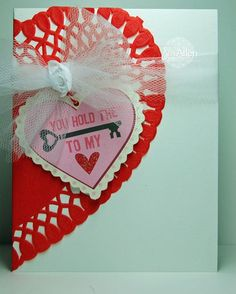 Hold the Key Paper Doily Heart Card