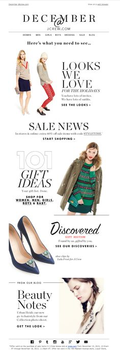 #newsletter J.Crew 11.2013 December at jcrew.com: holiday outfits, great gifts and more