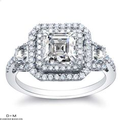 Double Halo Vintage Style Engagement Rings 1.20cttw