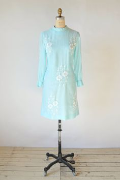 1960s Embroidered Dress Vintage Celeste Blue by DalenaVintage