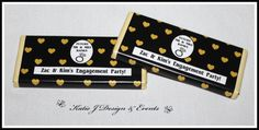 Chocolate Bar Wrappers #Gold #Glitter #Black #Hearts #Engagement #Party #Colour #Schemes #Bunting #Party #Decorations #Ideas #Banners #Cupcakes #WallDisplay #PopTop #JuiceLabels #PartyBags #Invites #KatieJDesignAndEvents #Personalised #Creative