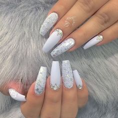 White nail art design