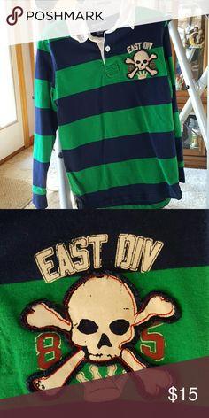 Arizona boys shirt Green and blue long sleeve shirt with skull patch. In great shape. Arizona Jean Company Shirts & Tops Polos