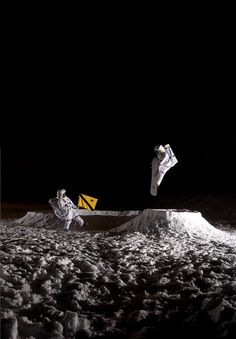 Lunar snowboarding. Creative Photography By Peter Lundstrom.