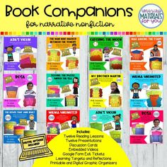 This narrative nonfiction book companion BUNDLE features 12 complete lessons that include objectives, learning targets, discussion cards, DIGITAL and PRINTABLE graphic organizers for every lesson, and Google Form™ exit tickets for every lesson. The people featured in the stories are Rosa Parks, Wilma Rudolph, Marcenia Lyle, Marie Tharp, Jane Addams, Martin Luther Ling, Jr., Philippe Petit, Ada Rios and the Recycled Orchestra of Cateura, and Mae Jemison.