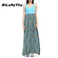 BiLaRyThy Casual Women's Long Maxi Dress Bohemian Beach Style Sleeveless O Neck Summer Printing Dresses vestidos