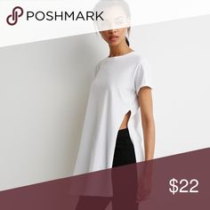 High Slit White Tee New never used. Open to reasonable offers😊 if you have any questions please ask Forever 21 Tops Tees - Long Sleeve