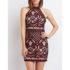 Charlotte Russe Lace Open Back Bodycon Dress ($33) ❤ liked on Polyvore featuring dresses, burgundy, open back lace dress, bodycon dress, red dress, charlotte russe dresses and burgundy bodycon dress