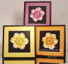 Stampin' Up! Secret Garden stamp set; Basic Black, Daffodil Delight, Pumpkin Pie and Rich Razzleberry card stocks; Watercolor paper, Polka Dot Parade DSP; Daffodil Delight, Pumpkin Pie and Rich Razzleberry markers; Jet Black StazOn ink; Blender Pen.