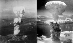 The mushroom clouds over Hiroshima (left) & Nagasaki (right). The clouds rose over the two cities within minutes of the two bombs being dropped, after huge fireballs erupted from the explosions.    source (picture): http://en.wikipedia.org/wiki/Atomic_bombings_of_Hiroshima_and_Nagasaki#Nagasaki  source (info): http://www.cddc.vt.edu/post/atomic/hiroshim/laurenc1.html