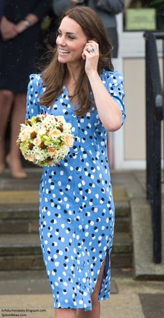 "hrhduchesskate:  ""Heads Together"" Campaign at Stewards Academy, Harlow, Essex, September 16, 2016-Duchess of Cambridge debuted the Altuzarra 'Aimee Button-Front Dress"" in blue with black and white offset dots, accessorized with her L.K. Bennett 'Fern' pumps, L.K. Bennett 'Nina' clutch, and Mappin & Webb earrings and necklace."