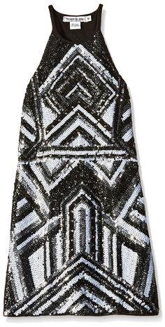 Flowers by Zoe Big Girls' Sequin Art Deco Tank Dress, Black, Small