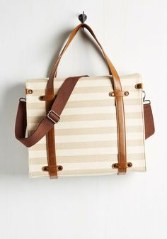 Camp Director Tote in Neutral Stripes. When the cabins shutter up for the season, take a bit of camp charm with you by packing your essentials in this rustically refined tote!  #modcloth