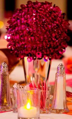 Hot pink sequin pomanders... from Pier One!