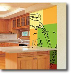 Kitchen cabinets and counter.  Design your own Wallpaper and easy DIY Wall Murals from www.customizedwal...