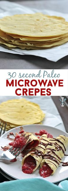 These paleo crepes are easy, tasty, and cook in the microwave! 30 second is all you need to make the best paleo breakfast or treat. Serve these with the sweet, fruity strawberry chia seed spread and you have yourself a winning, healthy crepe!