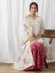 White Printed Chanderi Kurta with Pink Gota Palazzo and Dupatta - Set of 3 Pakistani Dress Design, Pakistani Dresses, Indian Dresses, Indian Outfits, Pakistani Kurta, White Outfits, Dress Outfits, Party Outfits, Indian Fashion Trends