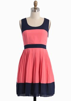 Pleated Dress In Coral