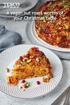 Try this hearty centrepiece for a luxurious vegan Christmas Dinner main. Butternut, aubergine, peppers and pistachios are roasted with traditional herbs to make a rich, savoury roast with a sweet and crunchy pomegranate topping. | Tesco