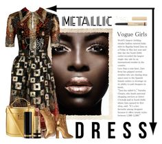 """""""Metallic Dress"""" by conch-lady ❤ liked on Polyvore featuring Oscar de la Renta, Mark Cross, Gianvito Rossi, Gucci and By Terry"""