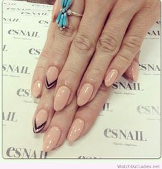 Nude with black chevron arrow accent