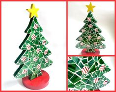 Mosaic Christmas Tree Green Red White by MashedPotatoMosaics