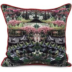 St. piece - vertumnus double sided silk cushion ($219) ❤ liked on Polyvore featuring home, home decor, throw pillows, floral throw pillows, floral home decor, skull home decor, patterned throw pillows and silk throw pillows