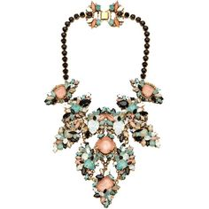 ERICKSON BEAMON 'Girls on Film' necklace ($815) ❤ liked on Polyvore featuring jewelry, necklaces, accessories, collares, jewels, rhinestone jewelry, chunky jewelry, chunky colorful necklaces, chandelier necklace and chunky necklace