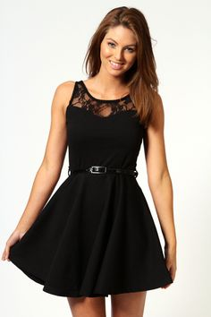 Lace Top Belted Skater Dress. Such a fun spin on the LBD. Also I love the Skater skirt tend, so fun to spin around in :) Haha but seriously with a fun pair of shoes and and clutch adding a pop of color would be so a perfect night out! All eyes would be on you