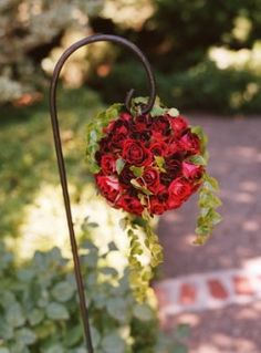 Red roses decoration wedding ceremony outdoor