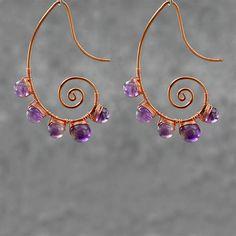 Amethyst scroll copper wire earrings handmade ani designs