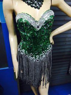 Dress Cabaret Showgirl Vegas Costume Feather Gown Vavavoom Dancer Show New Green #Unbranded #Skirt