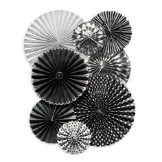 These black white and silver paper fans would be perfect for a 40th birthday party for him!