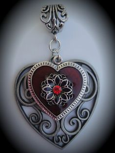 Silver Red Enamel Heart Pendant With by JewelryMakingSupply, $3.99