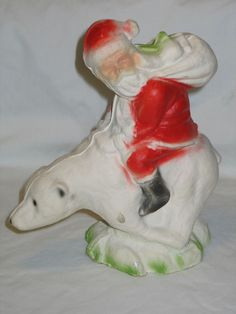 Vintage Christmas Paper Mache Santa Riding Polar Bear Candy Container T30