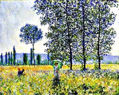Sunlight Effect Under the Poplars by Claude Monet in oil on canvas, done in Now in the Staatsgalerie Stuttgart. Find a fine art print of this Claude Monet painting. Monet Paintings, Impressionist Paintings, Landscape Paintings, Landscapes, Impressionist Landscape, Claude Monet, Pierre Auguste Renoir, Oil Painting Reproductions, Fine Art