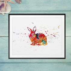 Rabbit Art Wall Painting Animal Art Watercolor Paint Rabbit Home Wall Hanging Art Picture Nursery Decor Kids Room Decor Watercolor Art Paintings, Animal Paintings, Art Pictures, Photos, Lapin Art, Art Mur, Rabbit Art, Hanging Art, Nursery Decor
