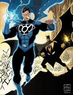 Blue Lantern Superman, Yellow Lantern Batman.
