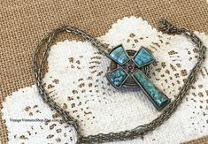 Turquoise cross OR pin on long silver-tone chain at #VintageVenturesShop #Etsy to buy click image #Cross #Easter #EasterCross #TurquoiseCross #CrossNecklace #CrossPin #CrossJewelry #SouthwestJewelry #BohoJewelry #BohoNecklace #HippieJewelry #HippieNecklace #TurquoiseJewelry