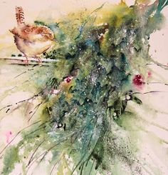 """""""A Christmas Wren"""" Original watercolour by Jean Haines Watercolor Pictures, Watercolor Bird, Watercolor Animals, Watercolor Paintings, Watercolor Christmas, Painted Christmas Cards, Virtual Art, Online Painting, Fine Art Gallery"""
