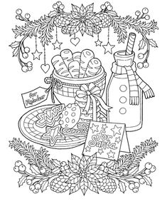 christmas milk and cookies coloring page coloring sheets coloring books adult coloring pages