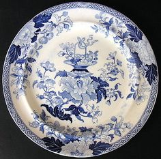 Antique WEDGWOOD Staffordshire Pearlware Blue Transferware Chinoiserie Plate