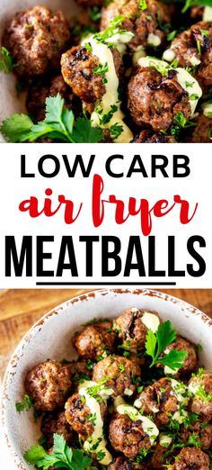 Anytime I can satisfy my cravings for meatballs in a way that doesn't involve a lot of carbs am ecstatic. Low Carb Air Fryer Meatballs is one of my go-to dinners. I prepare the Meatballs as part of my weekly meal prep, which makes weeknight family dinners SO EASY. #kickingcarbs #lowcarbrecipe #ketodinner #keto #airfryer